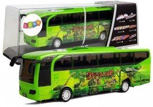 Autobus Park Jurajski Dinozaury Zielony z Naciągiem Dźwięk Światła