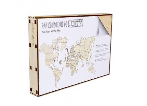 Drewniane puzzle 3D Wooden.City - Mapa Świata XXL Cyan   #T1