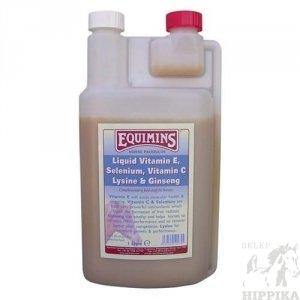 Suplement w płynie z Witaminą E, Żeń-szeniem i Lizyną dla koni - EQUIMINS Vitamin E, Selenium, Witamin C, Lysine, & Ginseng Liquid 1l