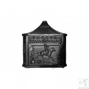 Żeliwna skrzynka na listy z motywem końskim