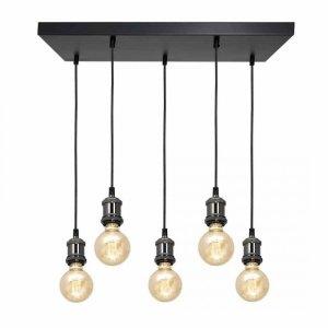 Lampa wisząca EDISON CZARNY/CHROM 5xE27