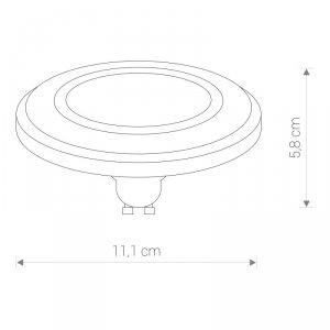 REFLECTOR LENS LED, GU10, ES111, 9W