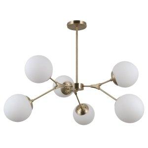 ITALUX ANNES PND-56980-6C LAMPA WISZĄCA SZKLANE BIAŁE KLOSZE PATYNA