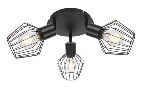 LAMPA PLAFON SPOT CZARNA DRUCIANA METALOWA W STYLU INDUSTRIALNYM RABALUX 3536 BELANO