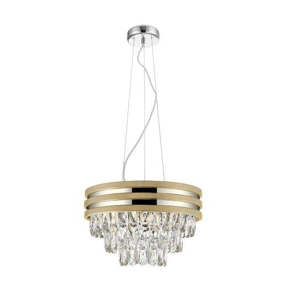 LAMPA WISZĄCA ŻYRANDOL KRYSZTAŁOWY GLAMOUR Z KRYSZTAŁKAMI ZŁOTY NAICA ZUMA LINE P0525-04A-F4V6