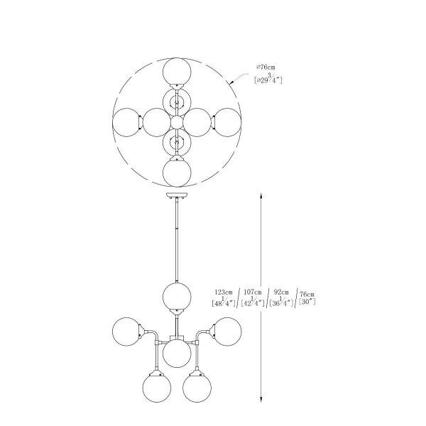 ZUMA LINE LAMPA ŻYRANDOL CZARNO ZŁOTY KULE SZKLANE P0454-08D-SDAC RIANO