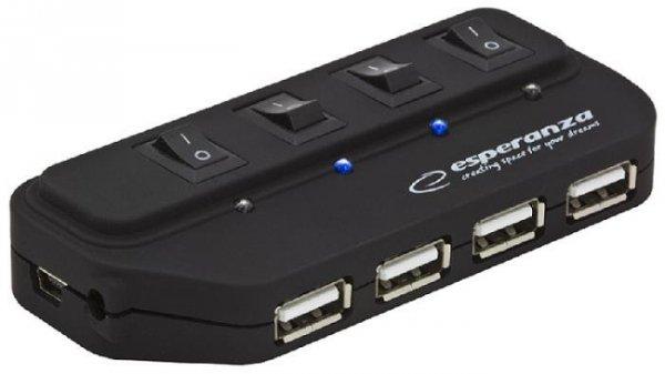 Hub USB Esperanza EA127 4xUSB 2.0 czarny