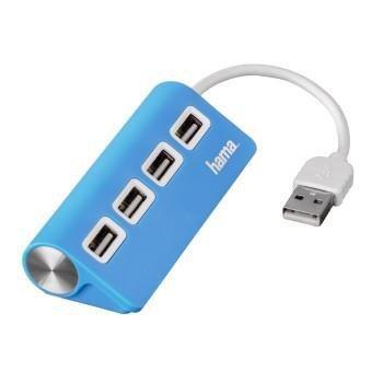 Hub USB Hama 4xUSB 2.0 niebieski