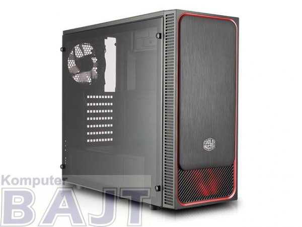 Obudowa Cooler Master MasterBox E500L Midi Tower bez zasilacza czarno-czerwona z oknem