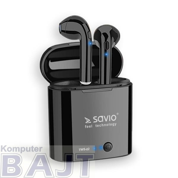 Słuchawki bezprzewodowe z mikrofonem Savio TWS-02 Bluetooth czarne
