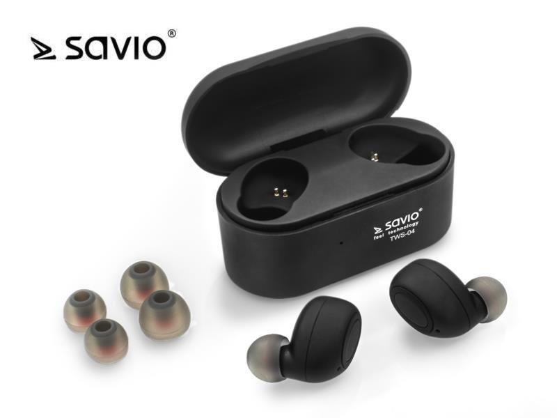 Słuchawki bezprzewodowe z mikrofonem Savio TWS-04 Bluetooth