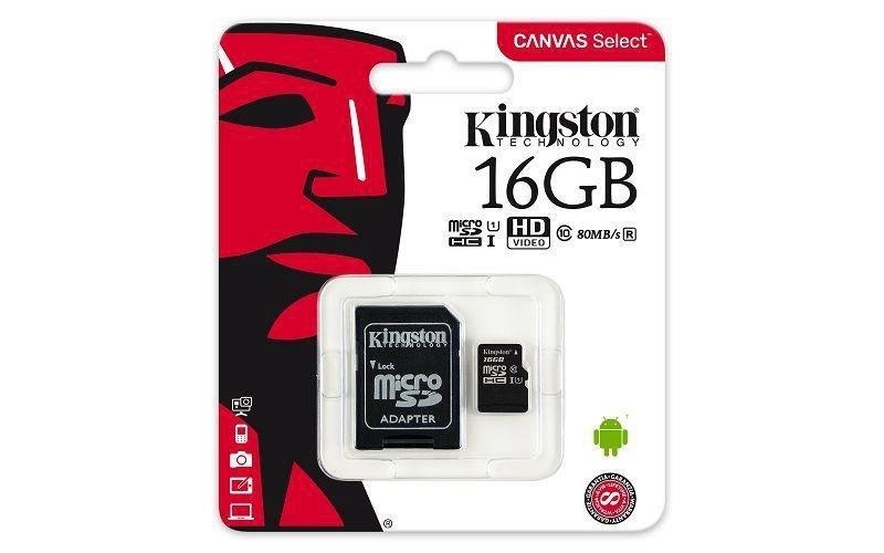 Karta pamięci Kingston microSDHC Canvas Select 16GB UHS-I Class 10 + adapter