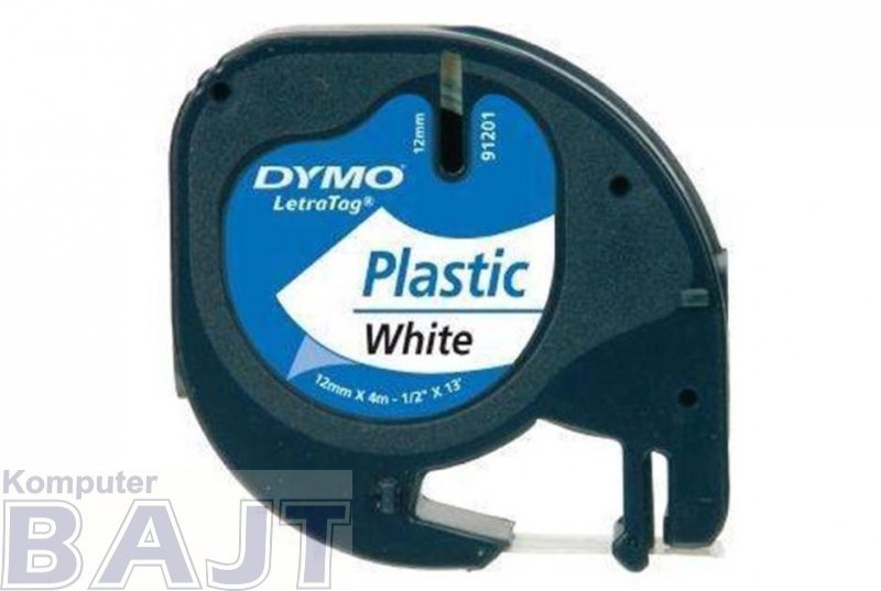 Dymo - taśma LT- 12mm x 4m plastikowa biała