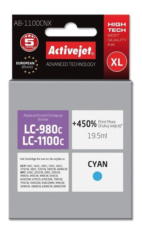 Tusz Activejet AB-1100CNX (zamiennik Brother LC1100C/980C; Supreme; 19,5 ml; niebieski)
