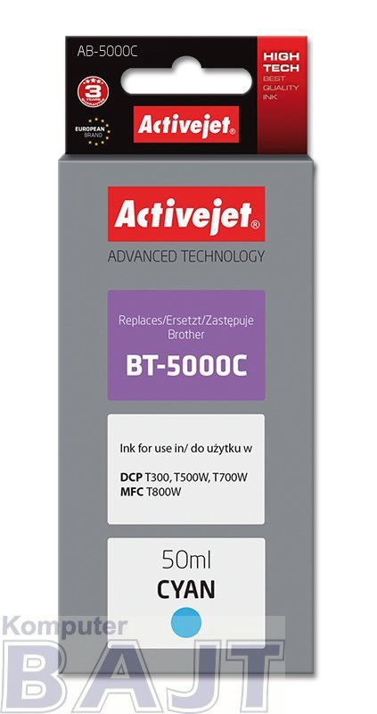 Tusz Activejet AB-5000C (zamiennik Brother BT-5000C; Supreme; 50 ml; niebieski)