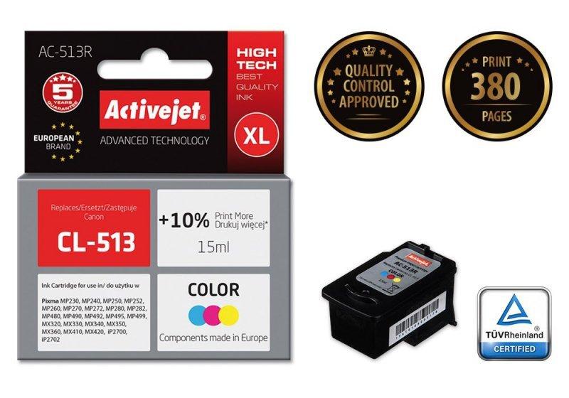 Tusz Activejet AC-513R (zamiennik Canon CL-513; Premium; 15 ml; kolor)
