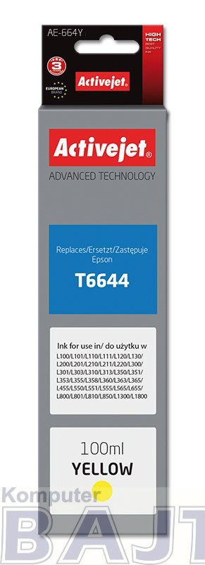 Tusz Activejet AE-664Y (zamiennik Epson T6644; Supreme; 100 ml; żółty)