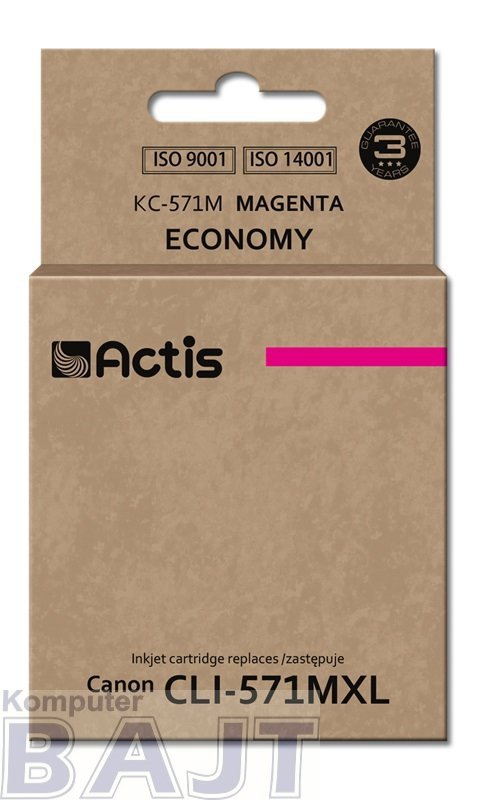 Tusz ACTIS KC-571M (zamiennik Canon CLI-571M; Standard; 12 ml; czerwony)