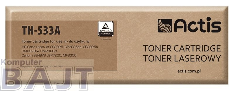 Toner ACTIS TH-533A (zamiennik HP 304A CC533A, Canon CRG-718M; Standard; 3000 stron; czerwony)