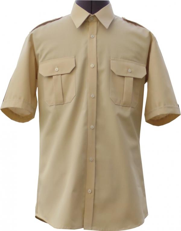 koszulo-bluza mundurowa z krótki rękawami beżowa