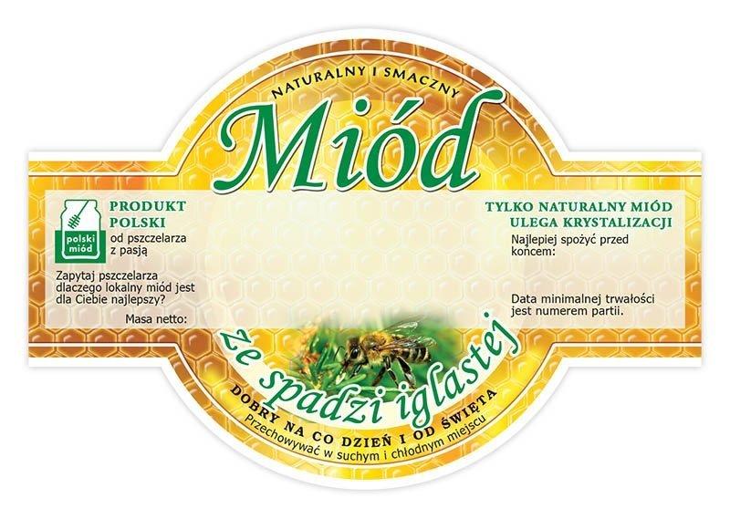 Paczka etykiet okrągłych na miód ze spadzi iglastej (100szt)