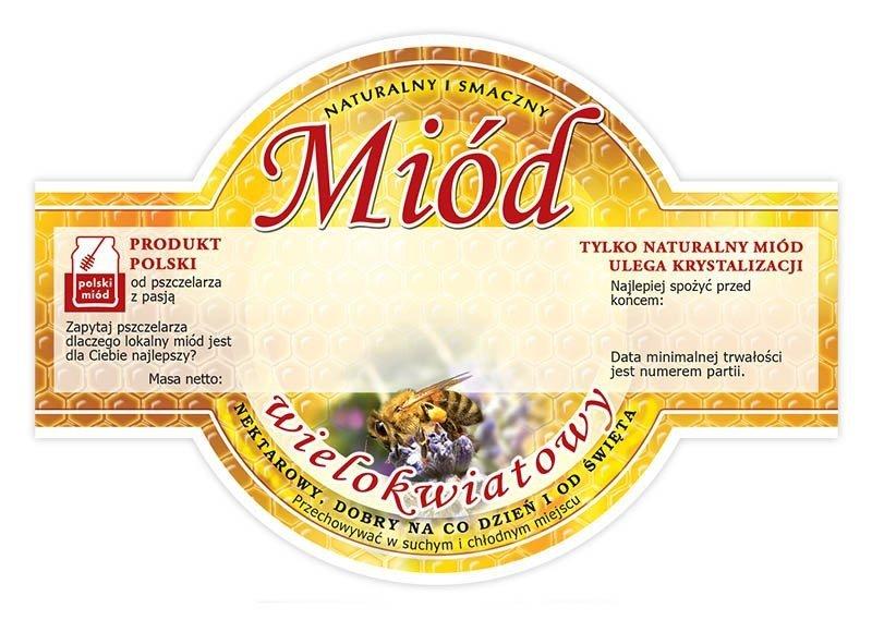 Paczka etykiet okrągłych na miód wielokwiatowy (100szt)
