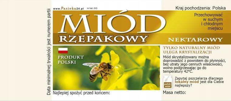 Etykieta samoprzylepna na miód rzepakowy nektarowy - 100 szt.