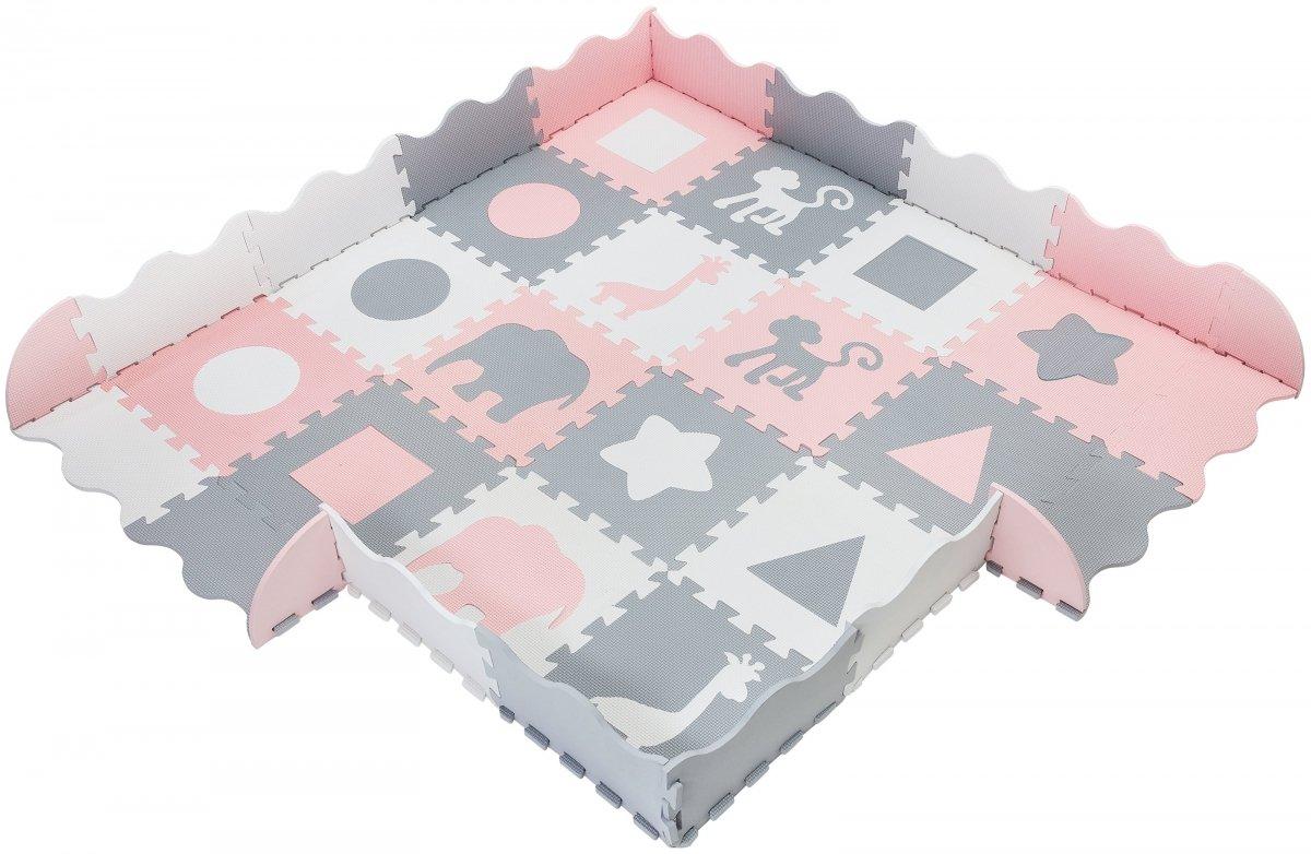 Mata puzzle XL 150 x 150 x 1 cm - z obrzeżem - pianka EVA - różowa