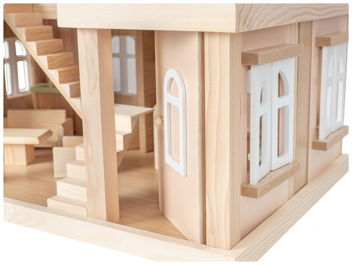 Drewniana Willa - domek dla lalek. W zestawie lalki, akcesoria i meble