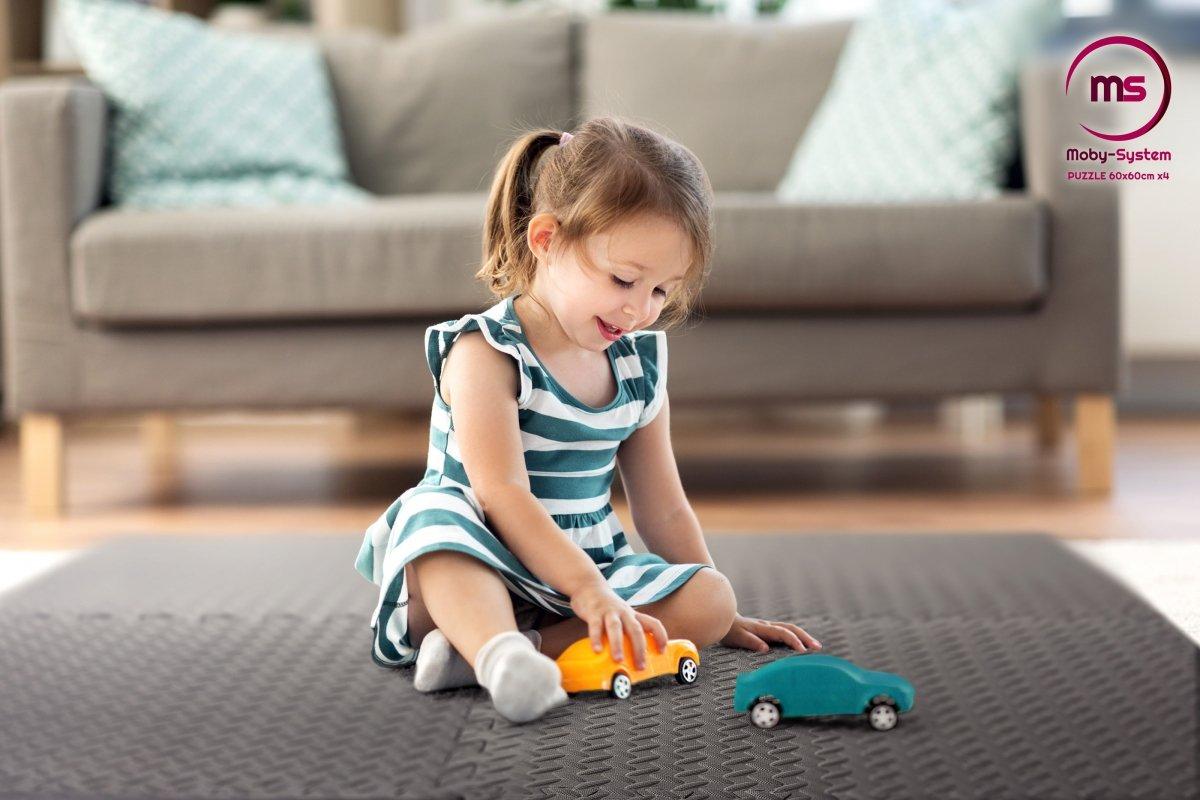 Piankowe duże puzzle 4szt. - piankowa mata do ćwiczeń na podłogę antypoślizgowa 120 x 120 x 1.2cm z obrzeżem - czarna