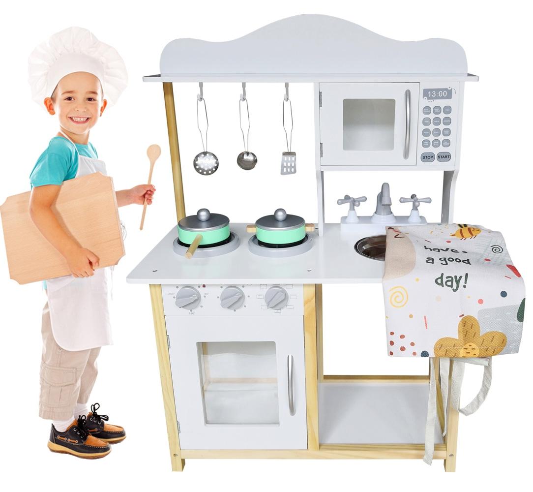 Drewniana Kuchnia MINI-MAXI dla dzieci + akcesoria i fartuch