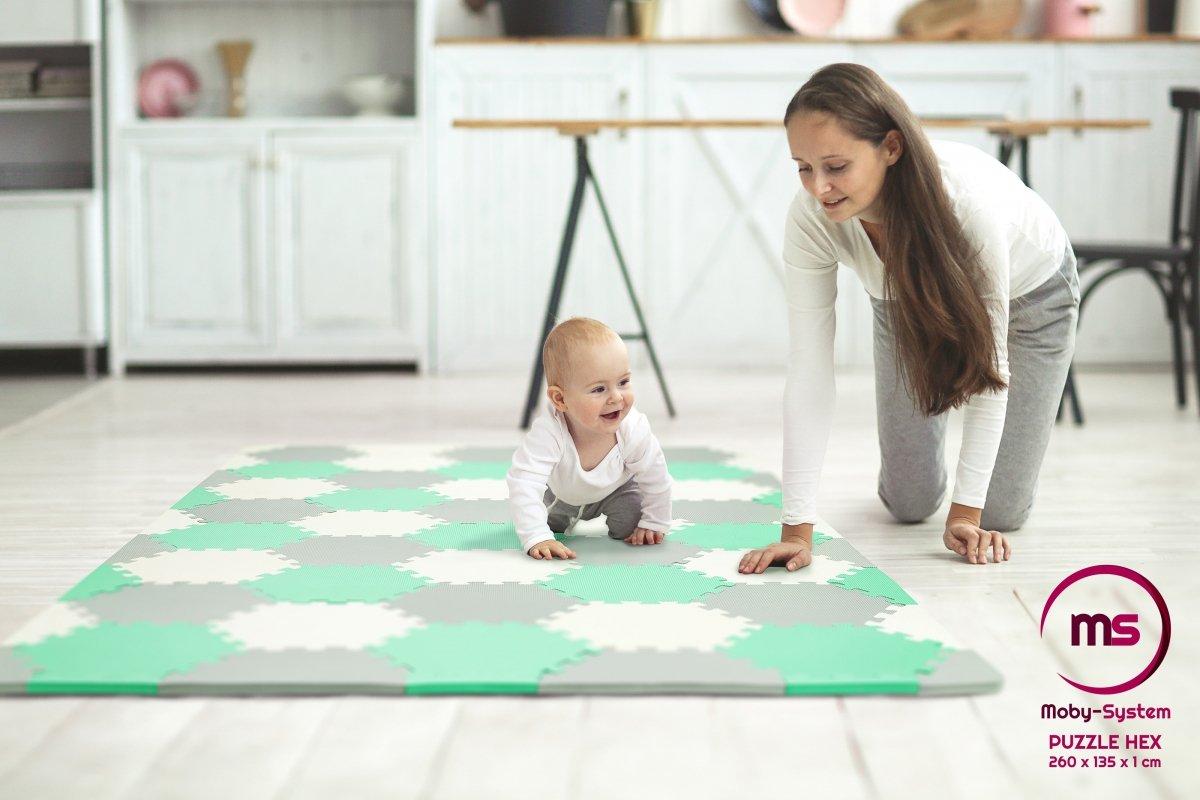 Mata puzzle XXL 260 x 135 x 1 cm - z obrzeżem - pianka EVA  + torba - zielona
