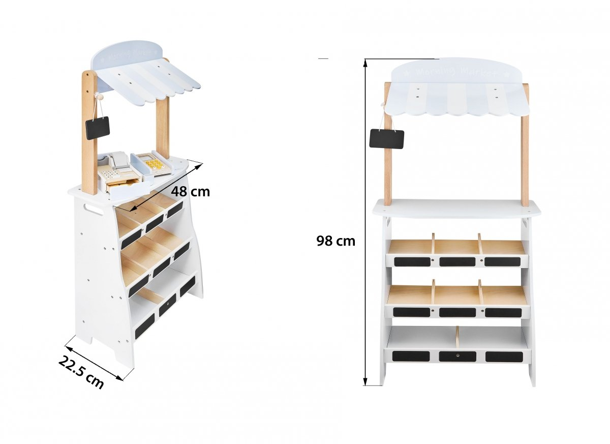 Warzywniak - drewniany stragan ze skrzynkami, kasą i terminalem