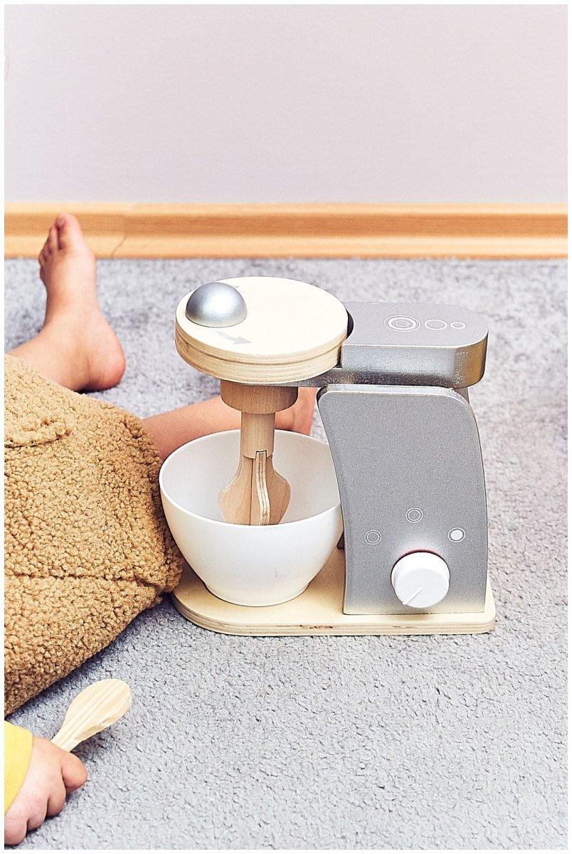 Drewniany mikser z miską, robot kuchenny do wyrabiania ciasta