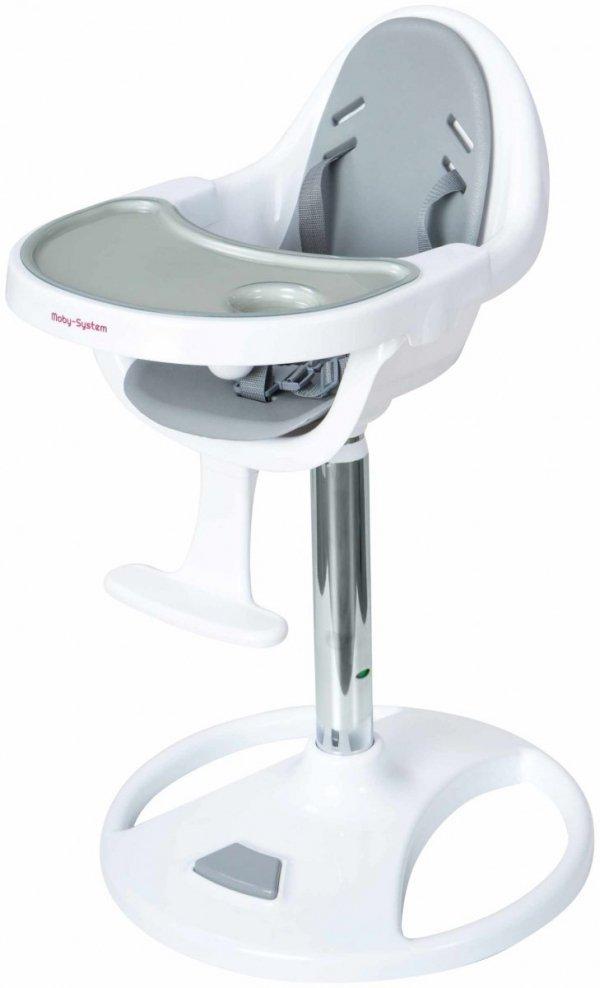 Wysokie obrotowe krzesełko do karmienia FLORA - szare