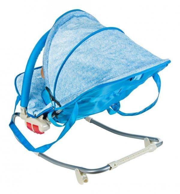 Leżaczek + bujaczek 2w1 z daszkiem - MILA - niebieski