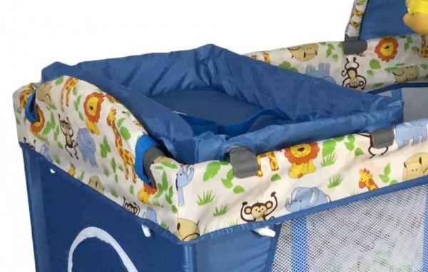 Łóżeczko Happy Traveller niebieskie