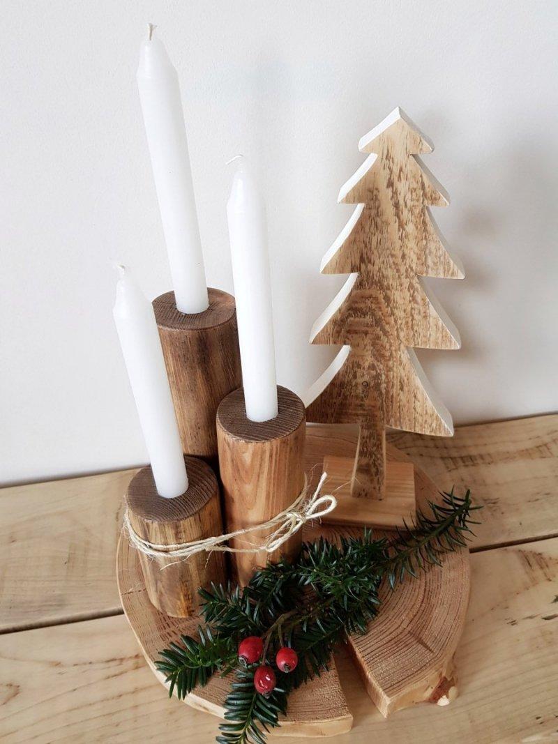 Zestaw 3 drewnianych świeczników orzech
