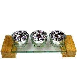 0135 Świecznik szklany lustrzany na 3 tealight