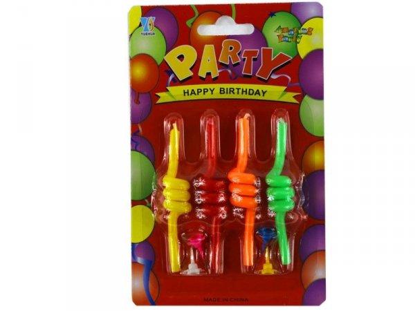 4458 ŚWIECZKI URODZINOWE SPIRALKI 4 szt Party Urodziny