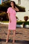 Olśniewająca sukienka na jedno ramię L254 pudrowy róż