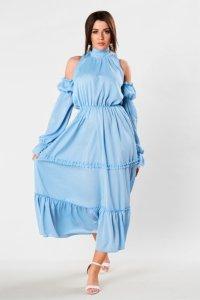tiulowa sukienka maxi z rozcięciami na ramionach i wiązaniem na plecach