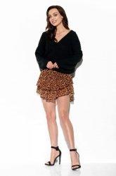 Sweter z dużym dekoltem V LS292 czarny