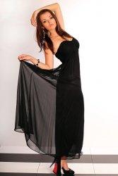 2503-3 Długa tiulowa suknia bez ramiączek - czarny