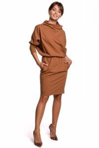 B175 Sukienka z kimonowymi rękawami - karmelowa