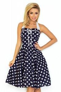 30-20 Rockabilly pin up sukienka - GRANATOWA w białe kropki - BEZ GORSETU Z TYŁU