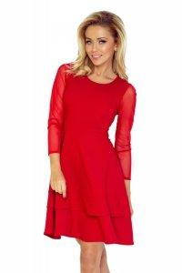 141-2 Sukienka z TIULOWYMI rękawkami - CZERWONA