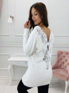 sweter z koronkowym dekoltem w serek na plecach M74396_1