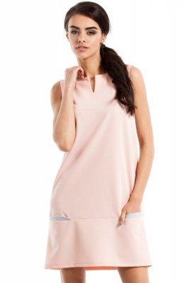 MOE232 Prosta sukienka bez rękawów pudrowa