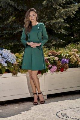 Klasyczna sukienka z długim rękawem L271 ciemna zieleń